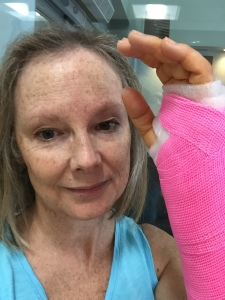 I have a pink waterproof cast for 4 weeks now. (I hope it won't be any longer than that!)